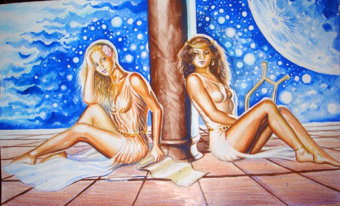 Sappho and one of the girls on the isle, watercolor painting