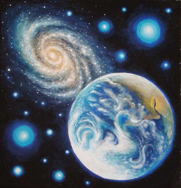Earth and a galaxy, tempera painting