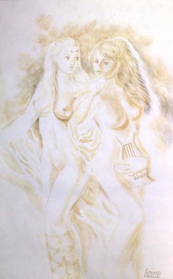 Sappho coffee painting