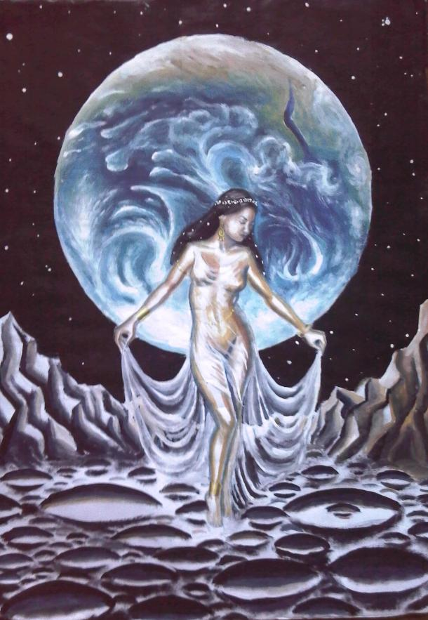 Moon dream, tempera painting