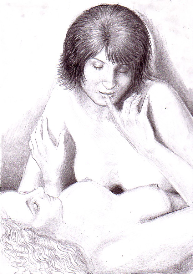 This is my pencil drawing of me and a woman I've never meet in this ...