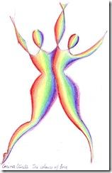 Colours of the rainbow - The colors of love - Culorile iubirii - Iubire in culorile curcubeului -  dragostea universala spirituala - suflete indragostite - desen drawing