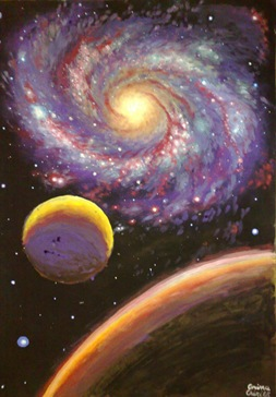 Galaxy painting - Galaxie si planete pictura tempera