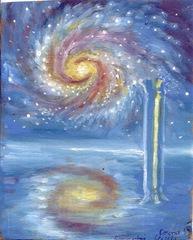 Peisaj cu coloana si galaxie