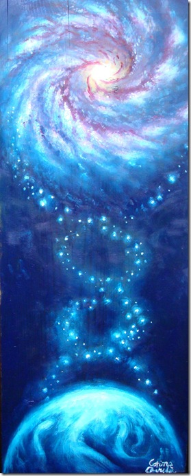 ADNul cosmic, spirala vietii pe Pamant si in galaxie, pictura ulei pe lemn - Oil on wood painting of the cosmic DNA the spyral of life on Earth and in the galaxy