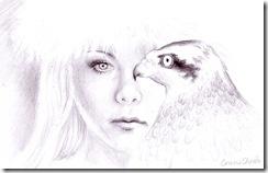 Chinezoaica blonda cu ochii albastrii si soim desen in creion
