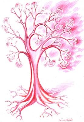 Copac din vase de sange cu embrioni pe post de fructe desen facut cu pixul