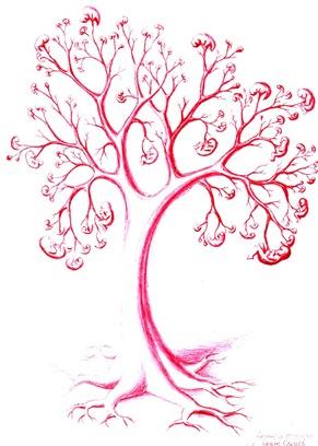 Copac din vase de sange cu embrioni si fetusi pe post de fructe desen facut cu pixul