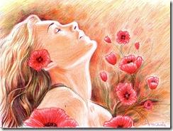 Opium dream - Fata cu maci desen