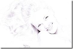 portret de fata in creion