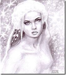 Portret de iarna  in creion