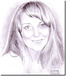 Portretul iubitei zambind desn in creion
