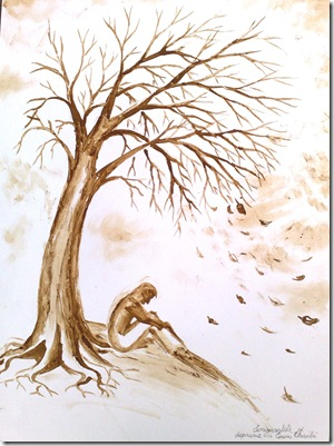 Singuratatea si depresie Copacul despresiv pictura facuta cu cafea