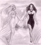 Lady in white and lady in black, a pencil drawing I've made when I was 15