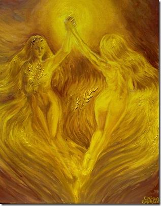 Auriu dansul ielelor pe lanul de grau sau campuri aurii pictura de vara ulei pe panza - Golden dream of love on the fields of gold oil on canvas painting
