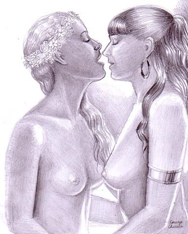 Lesbians pencil drawing
