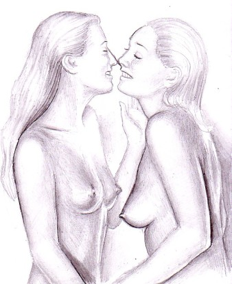 Happy lesbians hot pencil drawing