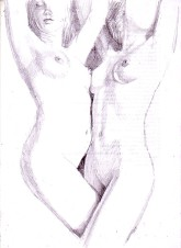 Double nude lesbians pencil drawing