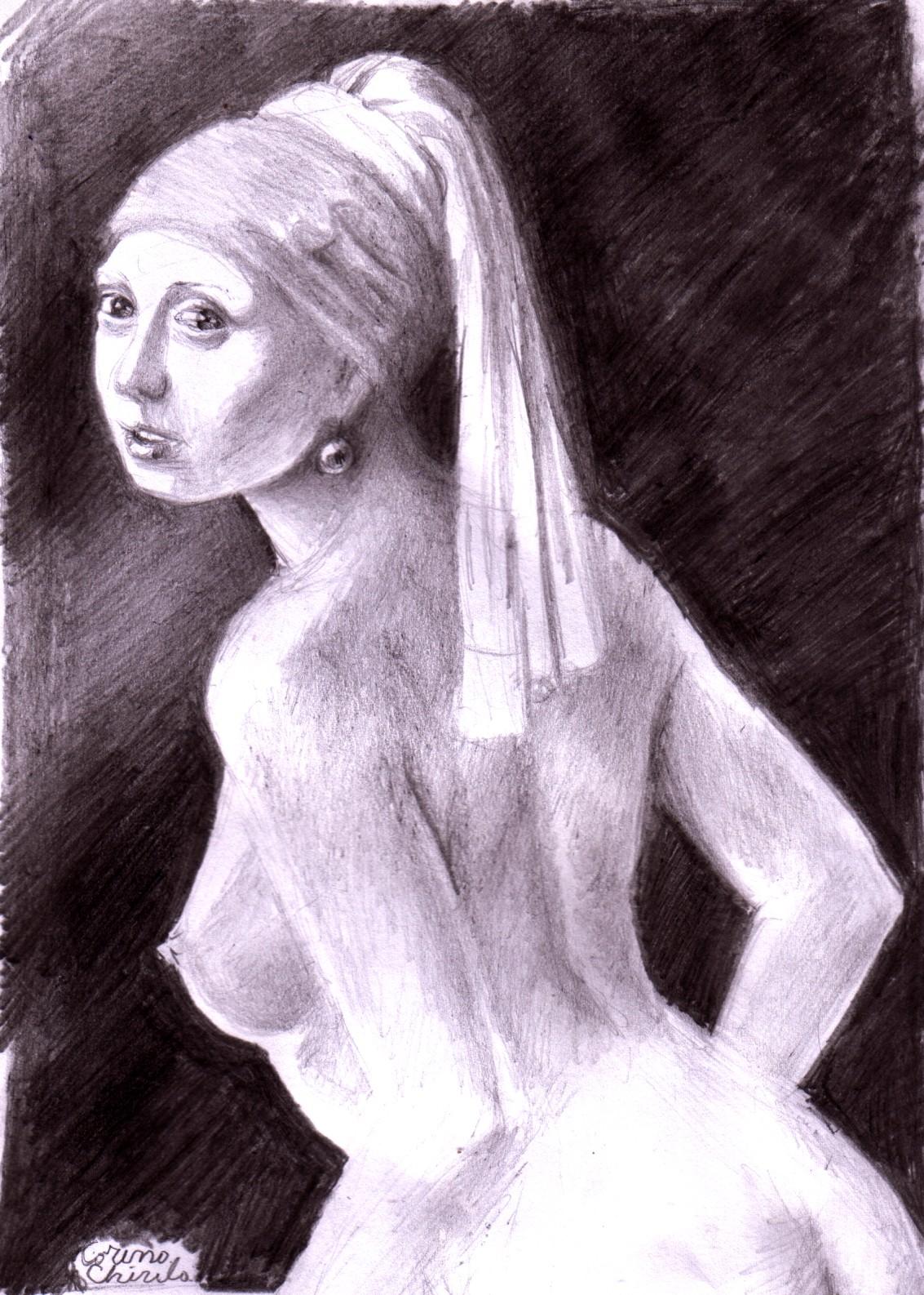 nude girl pearl earring