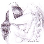 Love and passion - I wish I was in her arms - lesbian art Pencil drawing