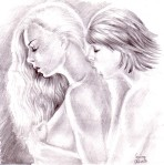 Kissing her neck lesbian pencil drawing hot art