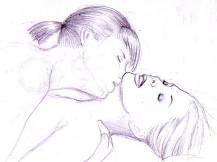 Her kiss lesbian drawing