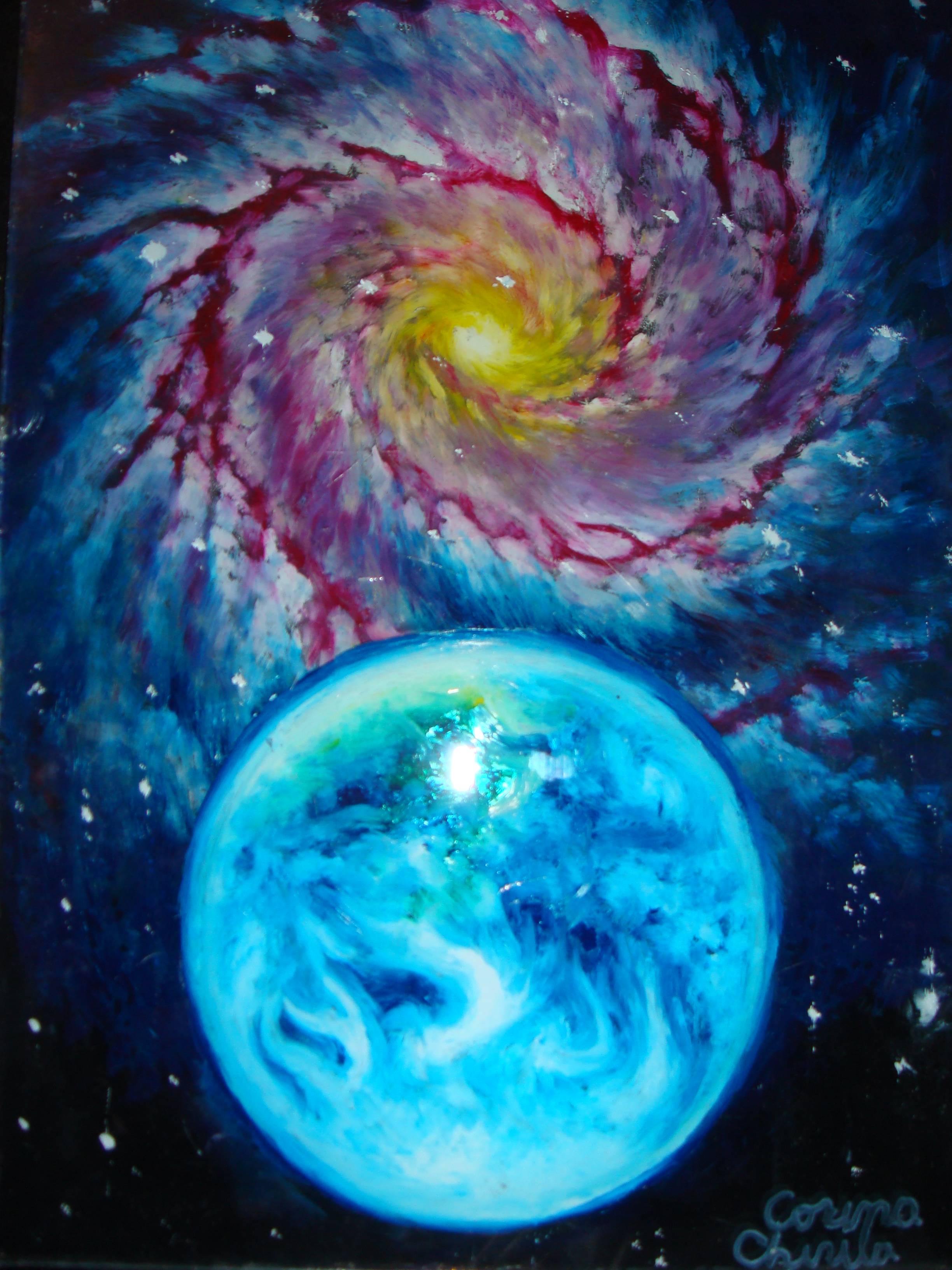 Galaxy paintings | Korinna's Universe Earth Painting Oil