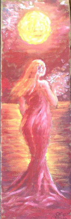 Lady in red dress in the sunset painting - Femeia in rosu in amurg pictura