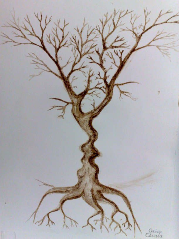 The tree of the kiss coffee painting
