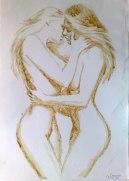 Lesbians Kissing coffee painting