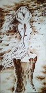 Lovers in the wind coffee painting