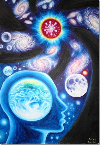 Cosmic mind oil on canvas painting cu gandul la univers si la Big-Bang sau viziunea lui Mihai Eminescu din scrisoarea 1 pictura ulei pe panza