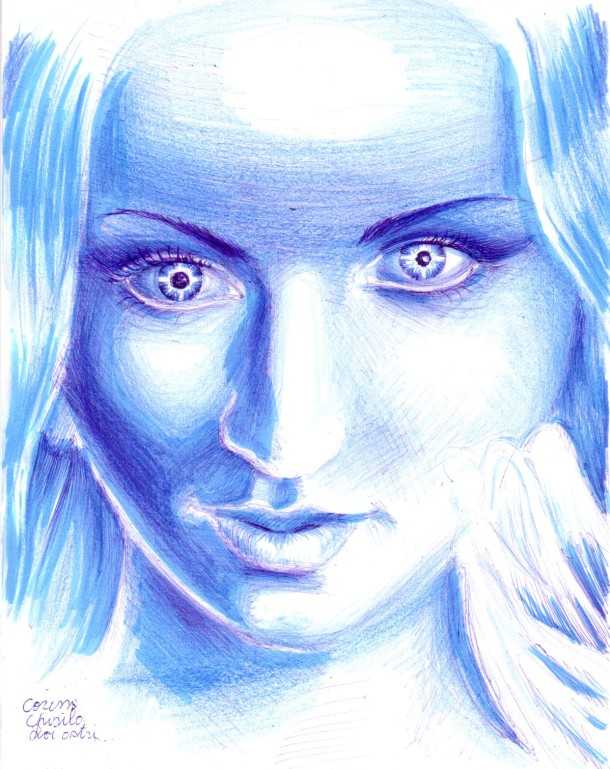 Starry eyes woman, drawing
