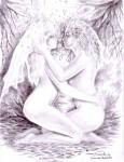 Dorinta - Eu cu iubita lui Eminescu desen in creion