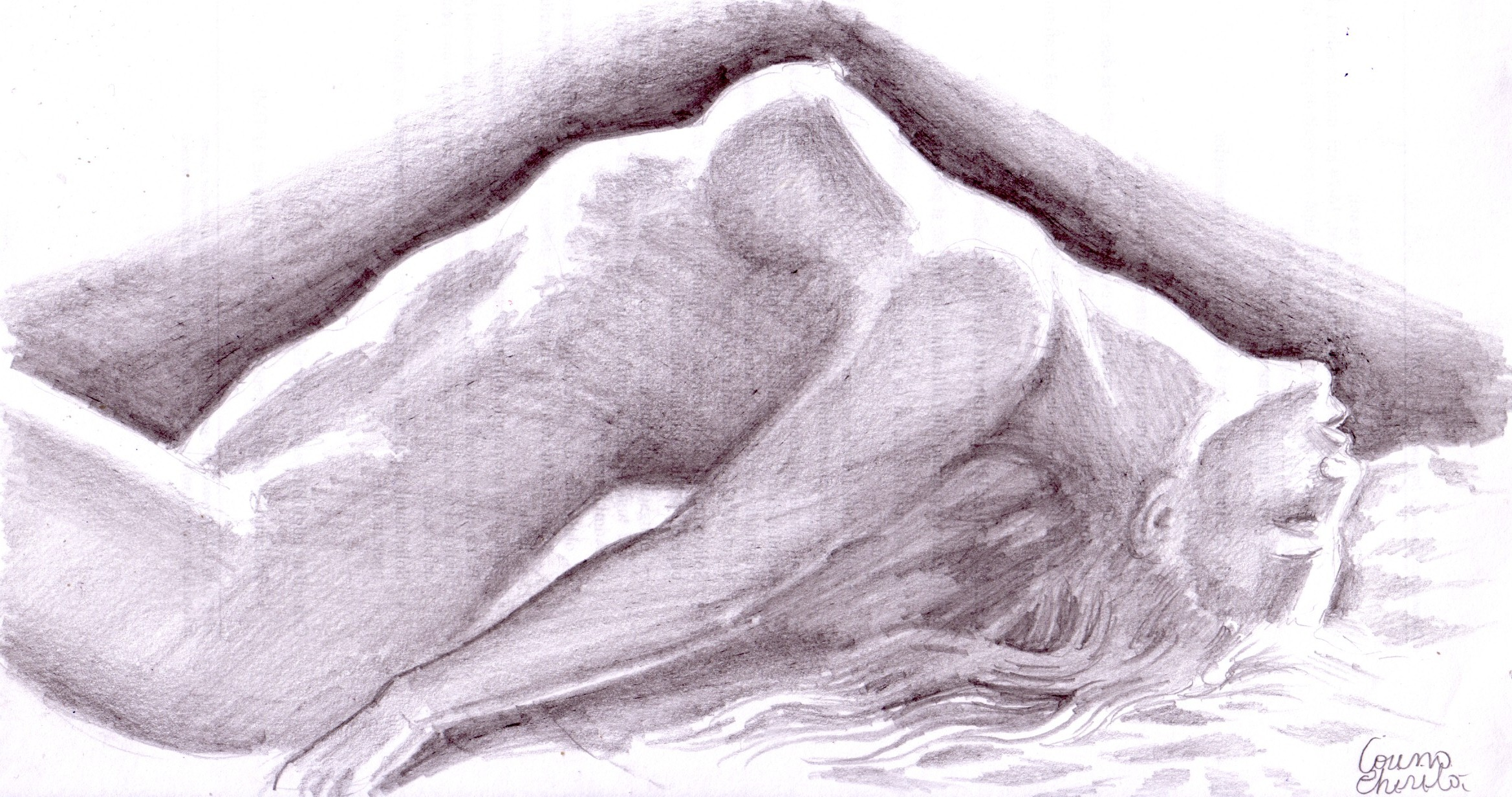 Orgasm pencil drawing