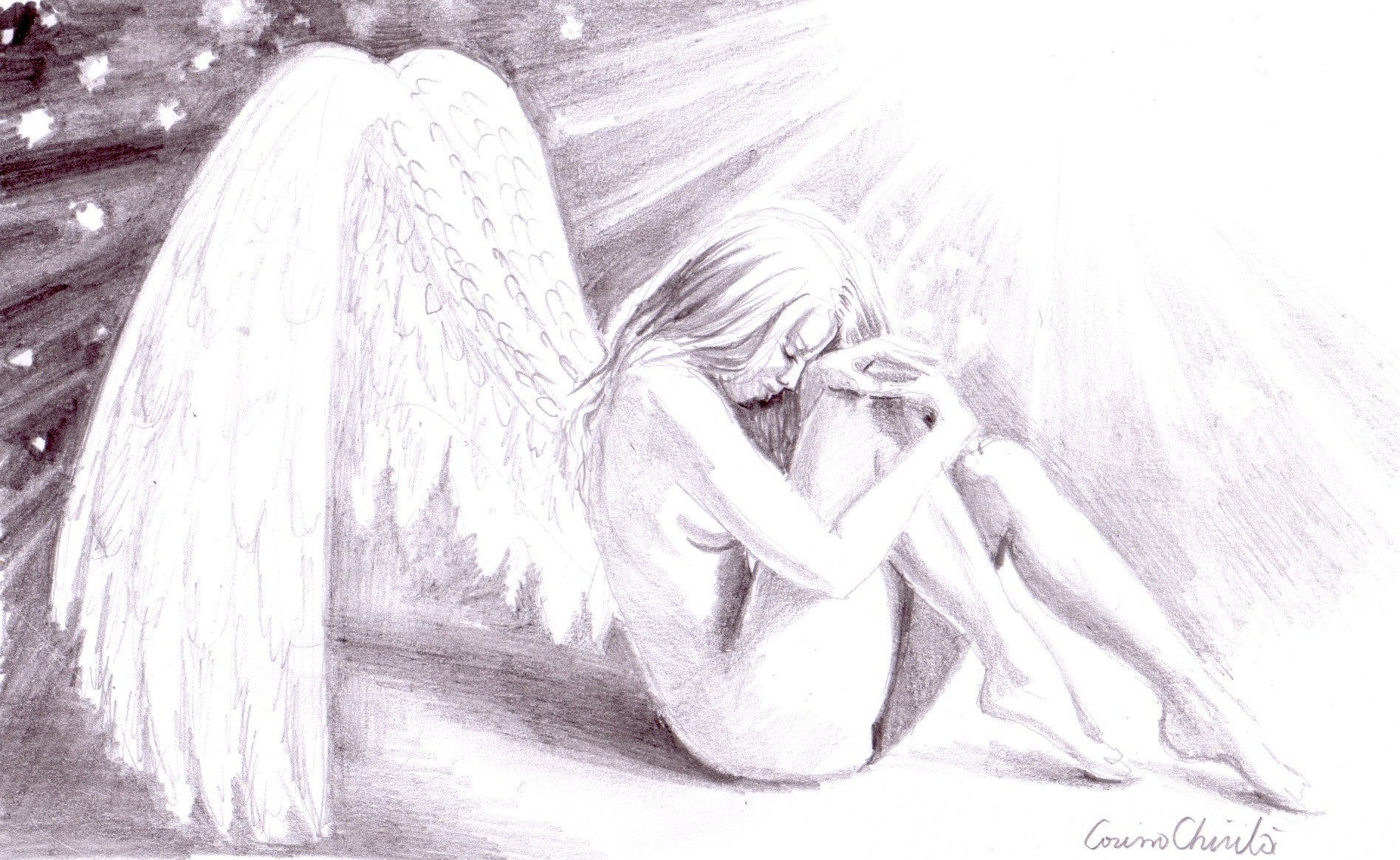 Sad lonely broken angel pencil drawing