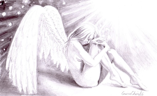 Sad lonely broken angel, pencil drawing