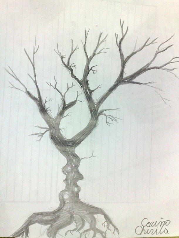 Copacul iubirii desen in creion