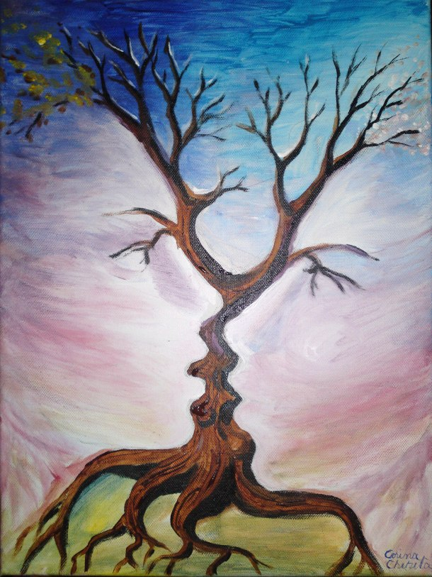 The tree of the kiss, acrylic on canvas painting
