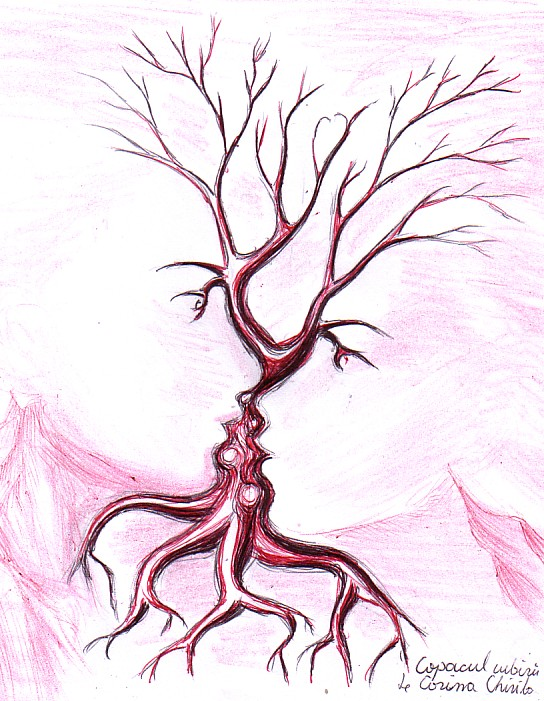 The tree of the kiss, ballpoint pen drawing
