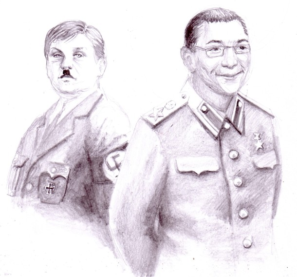 Stalin and Hitler from Romania, pencil drawing