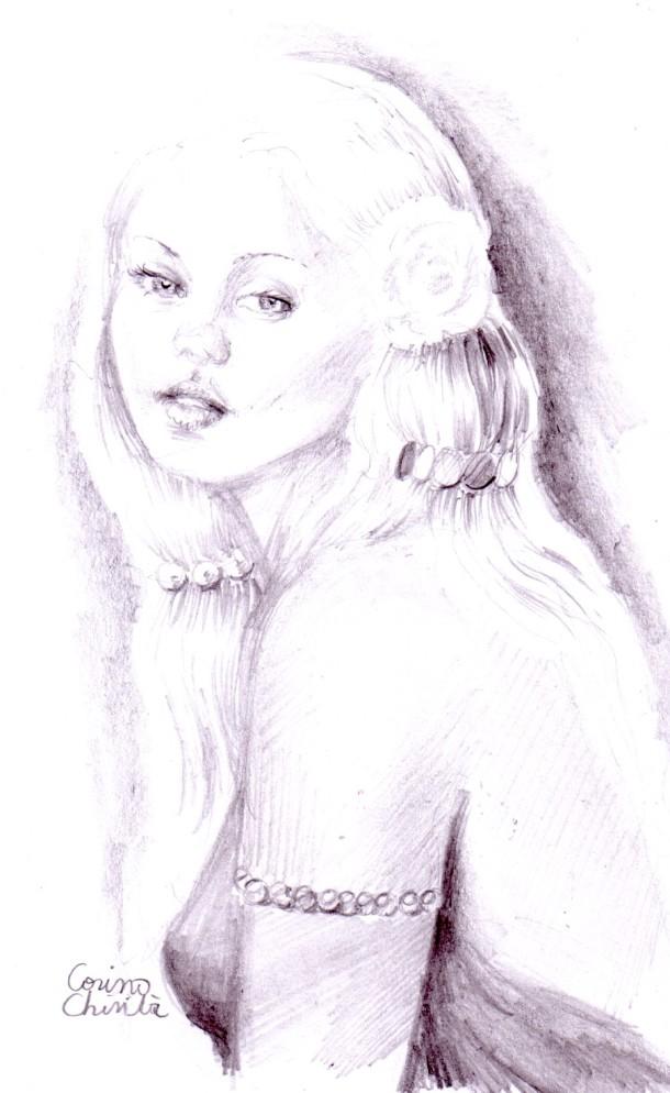 fata cu trandafir alb in par