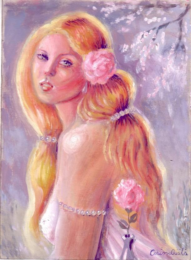 Ileana cosaneaza cu trandafir si perle pictura