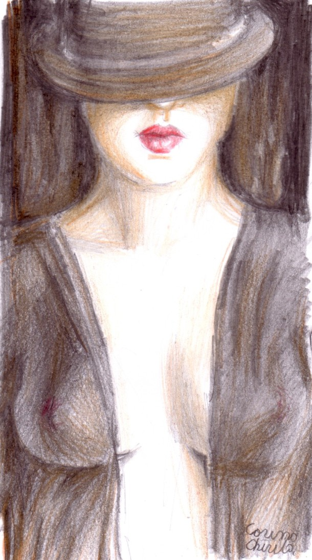 Misterious woman with a hat on her eyes, drawing