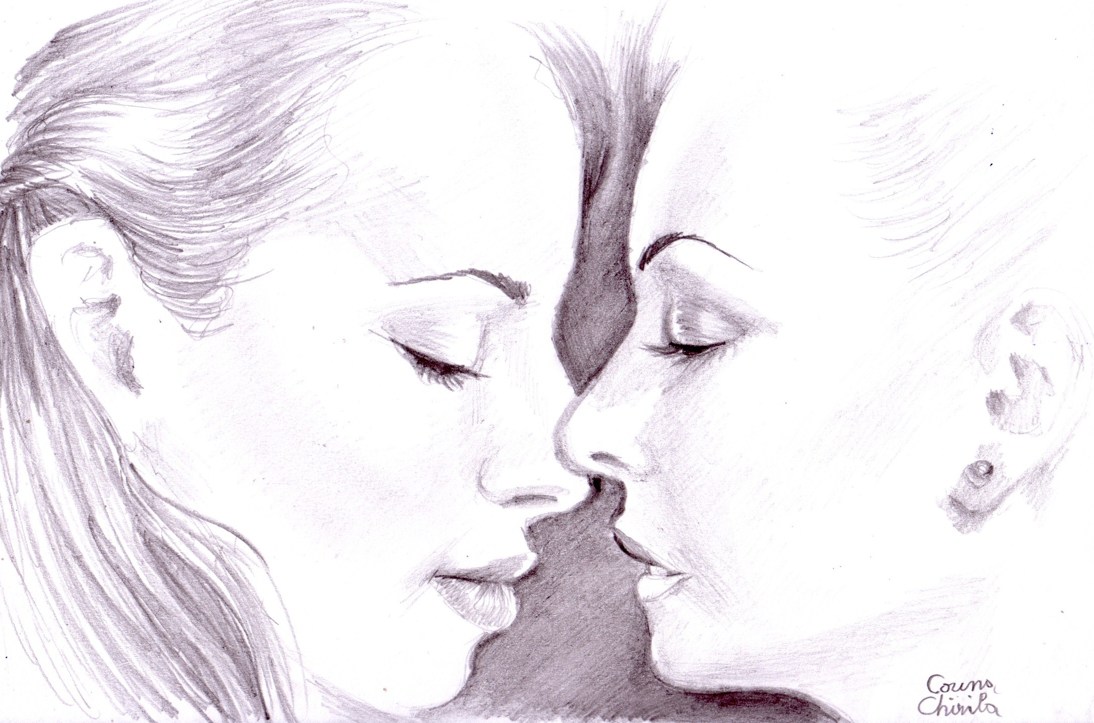 Uncategorized Drawing Of Two People Kissing kiss korinnas universe sensual pencil drawing desen senzual cu doua fete in creion