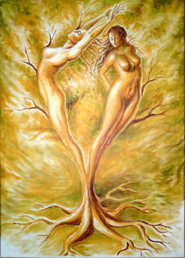 The tree of love, acrylic on canvas painting