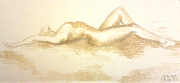 Naked woman painted with mocha coffee from a coffee machine