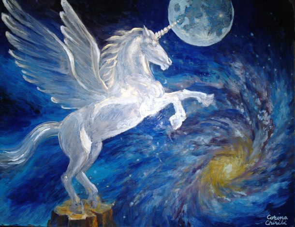 Pegasus acrylic on glass painting