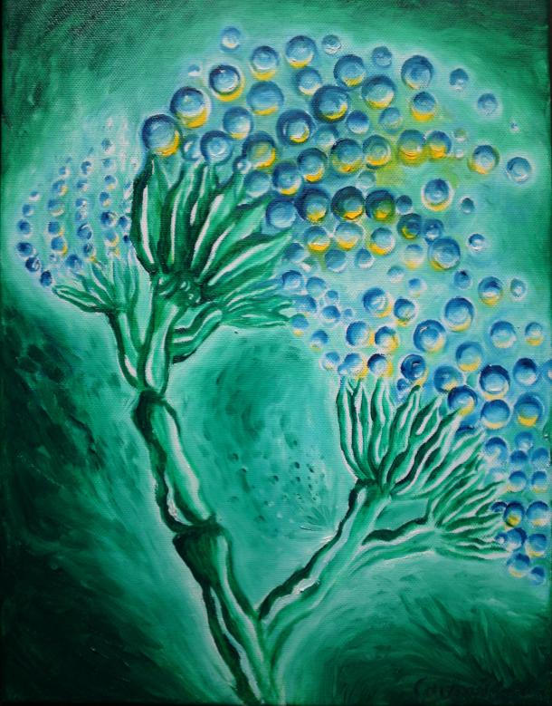 Penicillium, oil on canvas painting