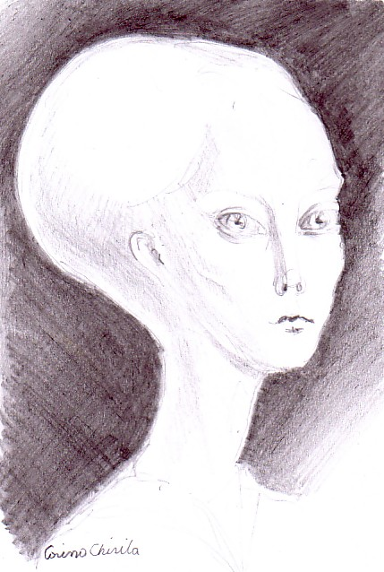 Alien portrait, pencil drawing